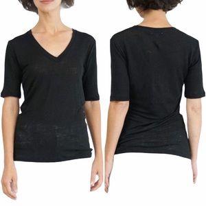 EMERSON FRY Black Linen Black V-Neck Tee Shirt XXS
